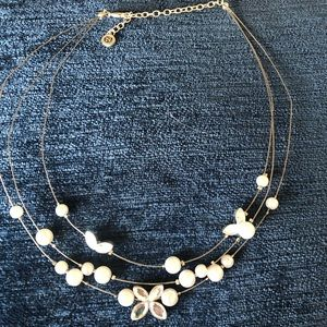 Faux pearl and crystal silver-toned necklace